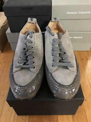 Sartori Gold Made In Italy Suede Lace Sneakers Size 39 Brand New $285