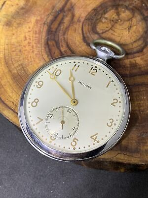 USSR Pocket Watch ISKRA Rare PearlDial Mineral Crystal SERVICED Mechanical #0892