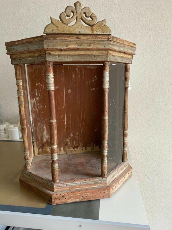 Antique Rustic Escaperate Altar Niche Nicho Shrine Architectural Religious Wood