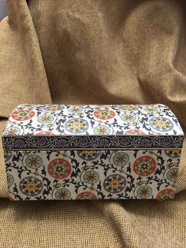 Used Floral Design Blues/White/Yellow/orange/green Storage/Jewerly Box Mirror