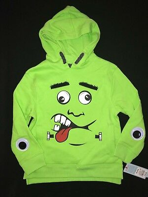 Googly Eyes Halloween Face (boys HALLOWEEN NEW NWT BRIGHT GREEN MONSTER FACE SWEATSHIRT GOOGLY EYES 12/14)