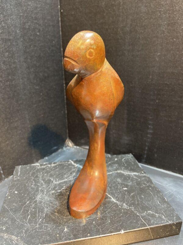 Parrot Solid Bronze/Brass Sculpture Bird Figure Vintage