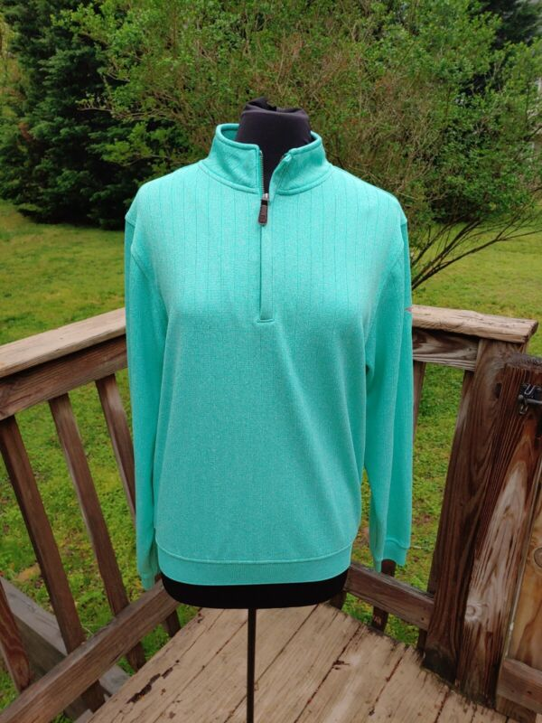 FootJoy Polyester Teal Quarter Zip Pullover Medium Excellent Condition
