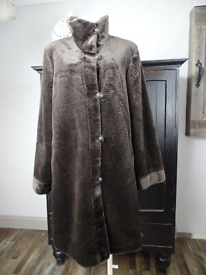 I Madison Womens Large Brown Striped Faux Fur Button Front 3/4 Length (Button Front 3/4 Length Coat)