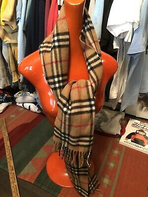 Burberry London 100% Lambswool scarf plaid Nova Check Tan Beige Designer