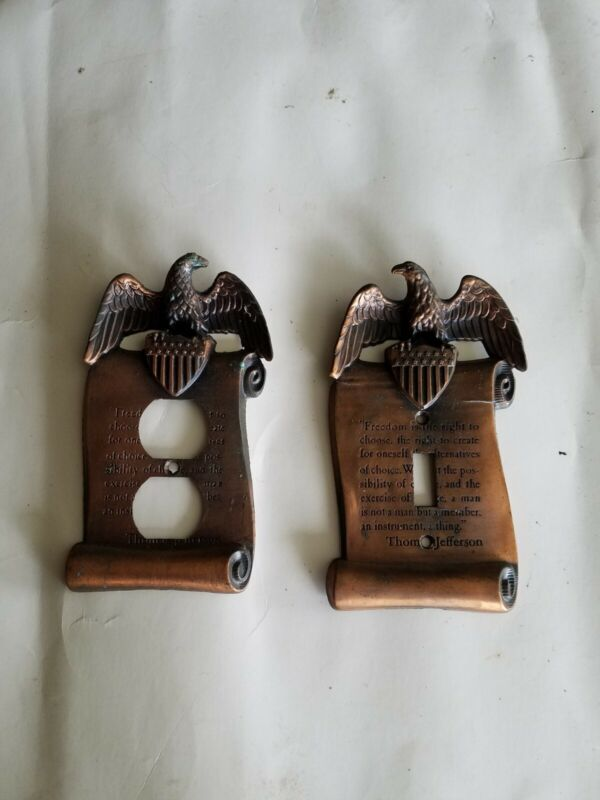 Vintage Thomas Jefferson Quote Eagle Switch Plate And Socket Plate preowned