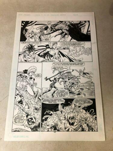 STRANGERS #7 original art 1993 LADY KILLER YRIAL battle MONSTER action page