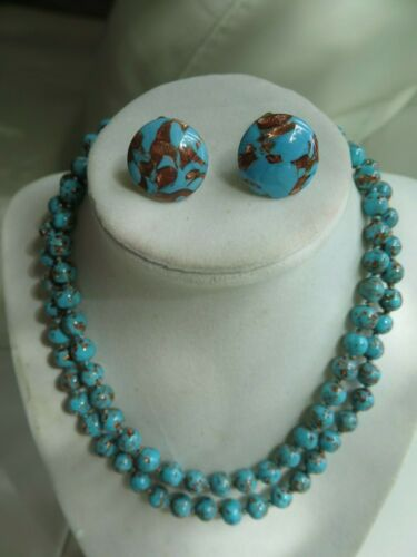 Antique Venetian Chevron beads  necklace and earrings set.