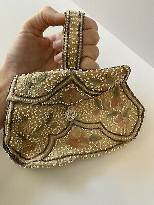 1920s Handbags, Purses, and Shopping Bag Styles French Beaded 1920s 30s Clutch Purse Early 20th Century White Floral Vintage $53.38 AT vintagedancer.com