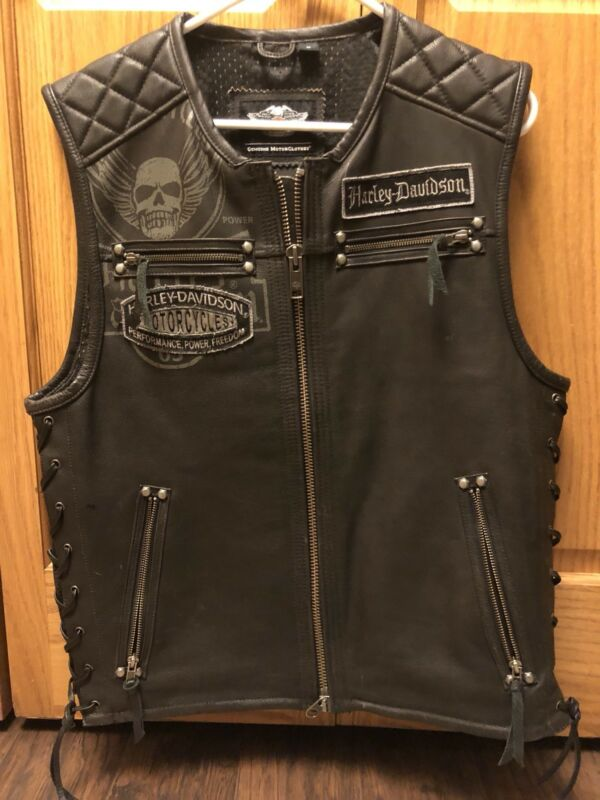 Harley Davidson Black Leather Motorcycle  Vest / Jacket