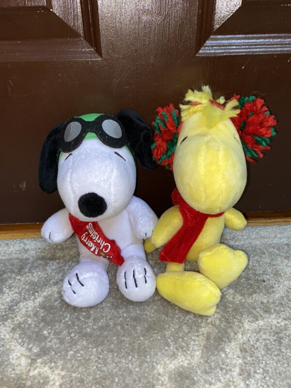 """Merry Christmas Peanuts Plush Musical Lot Woodstock & Snoopy 9""""-10"""""""