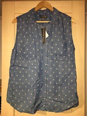 Alexander Jordan Star Print Denim Sleeveless Shirt Large BNWT