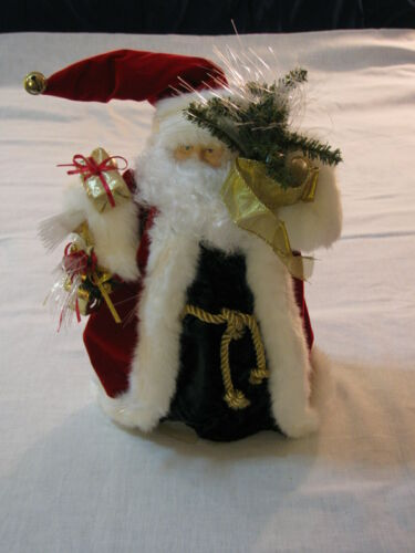"12"" Fibre Optic Color Change Beard Santa Tree Accessory Topper, Orig Box, Tested"