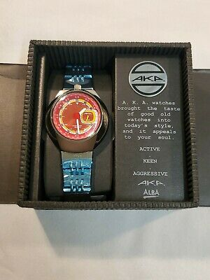 A.K.A. ALBA Red Quartz Analog Men's Watch SEIKO V707 0A20 With Box VINTAGE