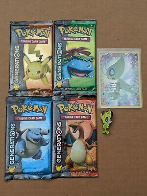 4x Pokemon Generations Booster Packs Celebi xy111 pin Each Artworks -