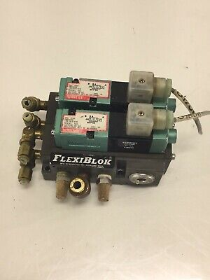 2 - Numatics 081SA4004 Solenoid Air Valves, 24VDC 6W, w/ Manifold Body, Used