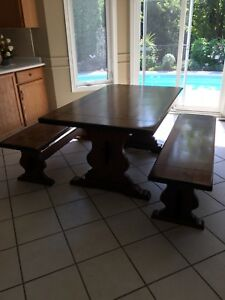 Solid Wood Harvest Table and Benches
