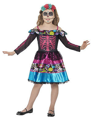 Girls Childs Mexican Day of the Dead Zombie Bride Halloween Fancy Dress Costume  (Dead Bride Costume For Girls)