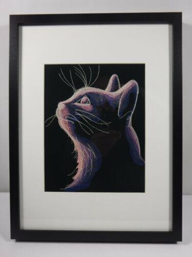 17 x 13 Frame With 9.5 x  7.5 Mat Framed Embroidered Art Dark Cat Head