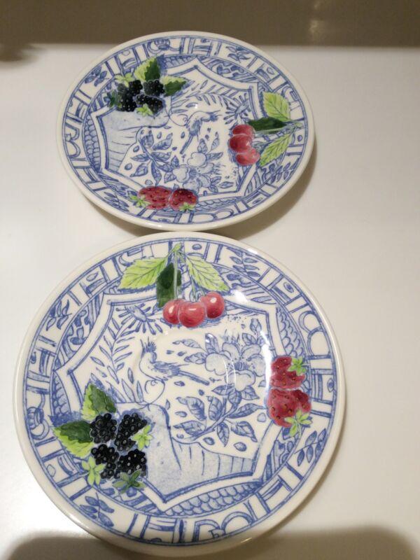 Gien France Oiseau Bleu Saucers Cherries Strawberries Blackberries Bird Motif