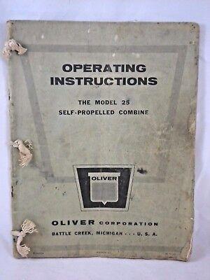Oliver Model 25 Self Propelled Combine Operating Instruction Maintenance 1960