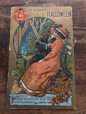Vintage 1910 HALLOWEEN Postcard JACK-O-LANTERN Light Lamp Post