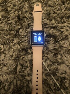 Apple Watch Series 3 38 mm Smartwatch (GPS Only, Silver Case, Pink Band) Great!