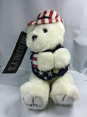 Hershey's Stuffed Plush White Patriotic USA Uncle Sam Teddy Bear American NWT FS