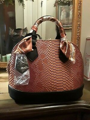 NEW Faux Leather Scarf Wrap Handle Dome Satchel Removable Strap & Dual Handles  Brown Leather Wrapped Handles