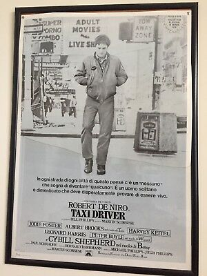 Taxi Driver Film Poster In ITALIAN. Rare . In Quality Glass Frame. VGC.