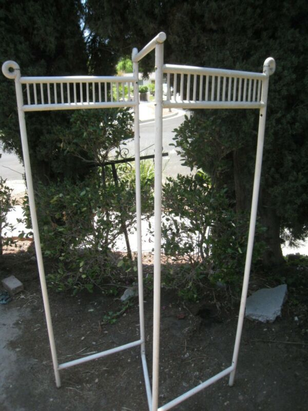 Antique Victorian White Dressing Screen – 3 panels –
