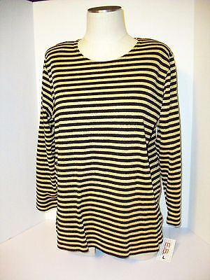 Women's E.B. Top Pullover  3/4  Sleeves Stripe Size L New With Tags 15% Metallic