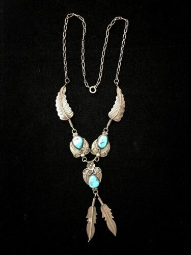 """Vintage Sterling Silver Navajo Turquoise Feather Pendant Necklace Signed 18"""""""