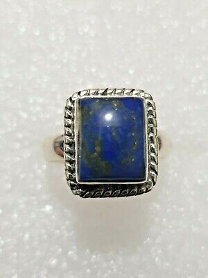 Chunky Natural Lapis Lazuli Stone Ring 925 Solid Sterling Silver 925 Size N1/2~O