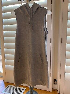 Fabletics NWOT gray hooded sleevelessYukon Dress/swimsuit cover up/top/tunic/szM