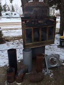 Large fire place/wood stove