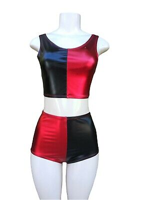 Blue Halloween Costumes (Harley Quinn Halloween Costume Blue/Red Shiny Wet Metallic Same Day Shipping)