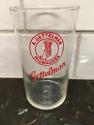 GETTELMAN Red Enamel CHASER Beer Glass Milwaukee Wisconsin Very RARE