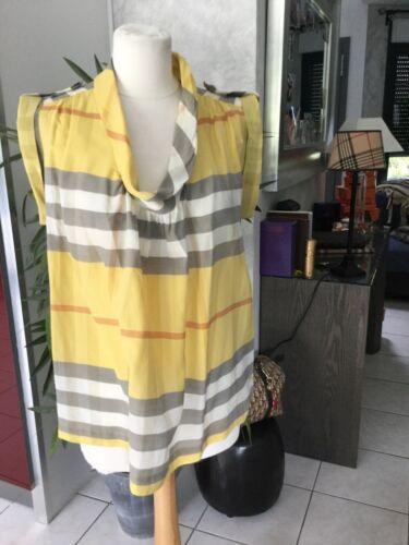 Haut chemise blouse burberry taille 40/42 coton/soie jaune/gris tres bon état
