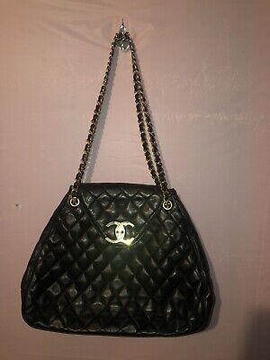 CHANEL Vintage rare trapezoid Jumbo Black Quilted Leather Chain Link Flap