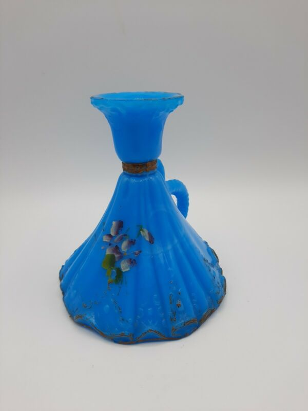 Antique Dithridge and Company Blue Milk Glass Candlestick Holder Hand Painted