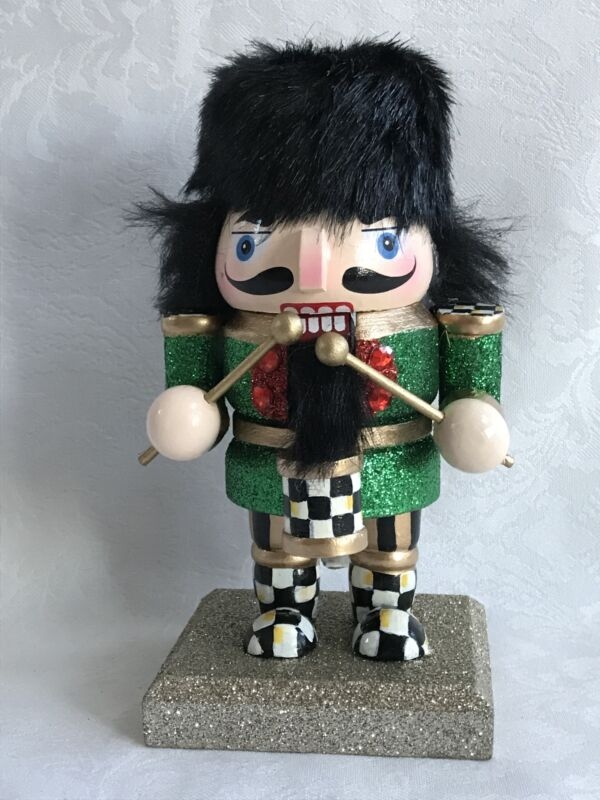 Mackenzie Childs Inspired Hand Painted Courtly Check (Qty 1) Nutcracker #2 NEW