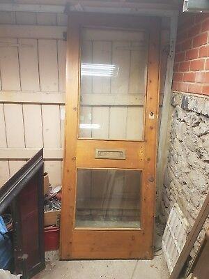 VICTORIAN RECLAIMED ANTIQUE PINE FRONT DOOR 78.5