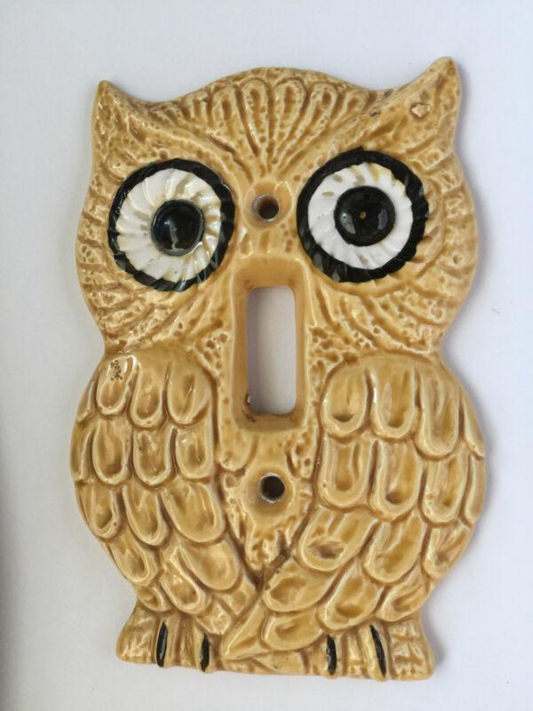 Vintage Enesco Ceramic Owl Light Switch Plate Cover 1970s Mid Century Modern