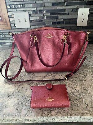 Coach F57563 Pebble Leather Mini Kelsey Satchel Handbag Rose Mauve w/ wallet