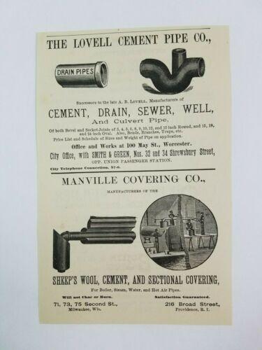 1890 Worcester Massachusetts Advertisement Lovell Pipe Manville Covering Builder