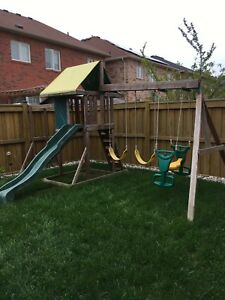 Play set outdoor swings, slide and monkey bars