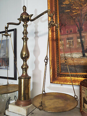 Antique/Vintage Large Brass SCALES OF JUSTICE Balance with Marble Stand/Base
