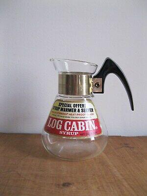 Vintage Log Cabin Syrup Warmer-16oz Carafe Style Server-Corning Glassware