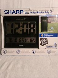 Sharp Atomic Wall Clock with Jumbo Display, Easy Set Up, Updates Daily